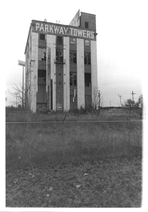 The abandoned Parkway Towers building, Chattanooga, Tennessee. 2010. Silver print.